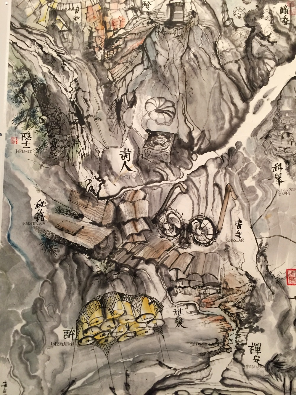 Qui Zhijie reimagining Chinese landscape tradition with panel after panel of a room-size, meandering life-story-as-river