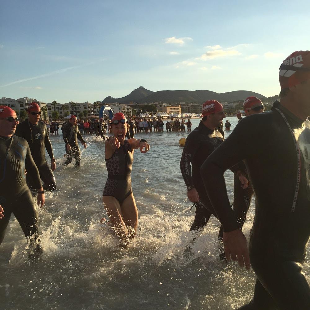 Beach run into the 2nd half of the swim