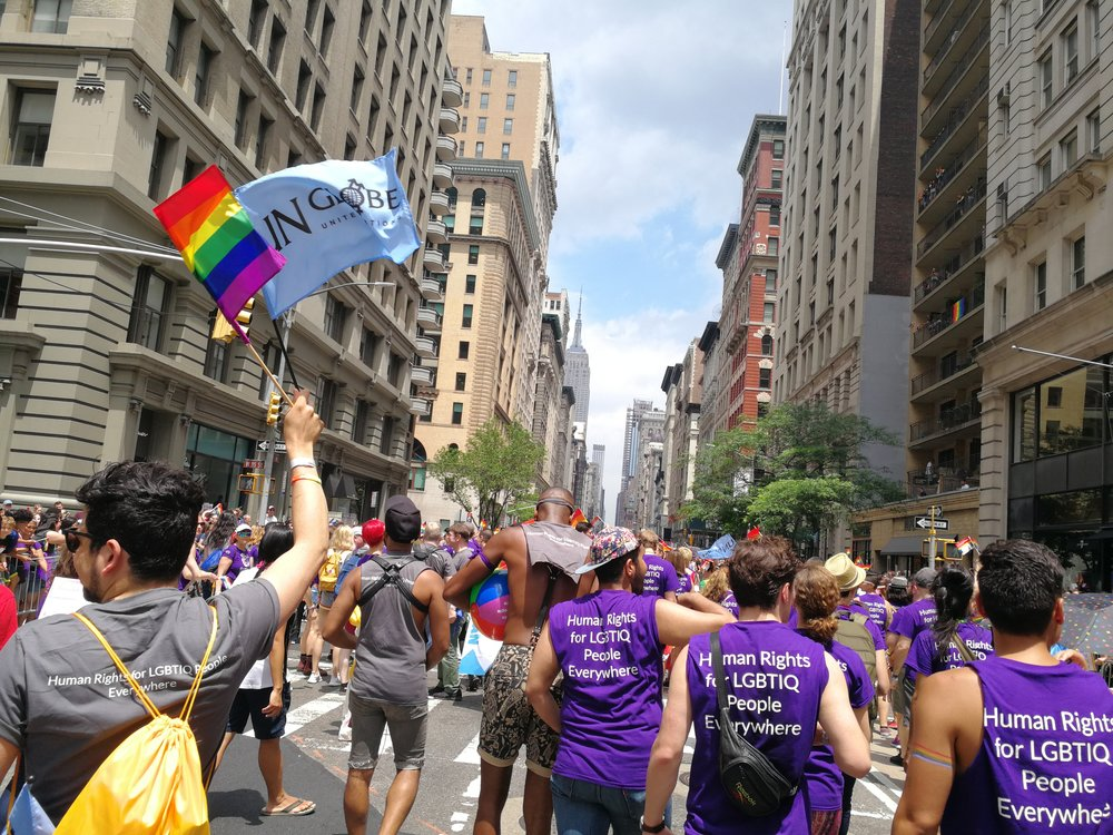 UN-Globe and OUTRight International march in the 2018 NYC Pride Parade
