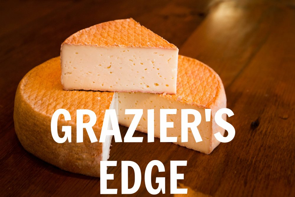 Grazier's Edge is made with milk from Minnesota grass-fed cows and washed with St. Paul's own 11 Wells Rye Whiskey. It is a milder, buttery washed rind with meaty notes and a hint of spice from the rye wash.