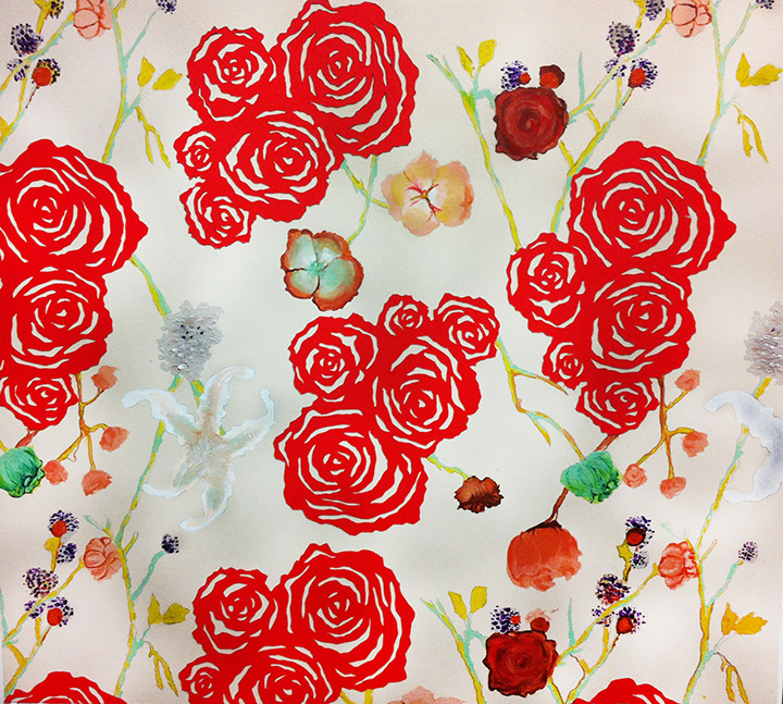 Repeat Pattern Design. Red roses are hand cut paper stencils, plants and flowers are painted in acrylics, and colored pencils. 18X19 in. Inspiration was to discover a way to mix a big bold poppy red 2D flower anddominant color with a neutral background and very light pastel colored and natural realisticflowers and plants together and still have each part of the pattern stand out and work together cohesively.