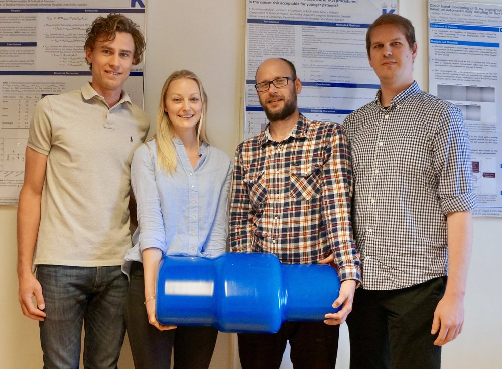 (from left) Patrik Nowik, Deborah Merzan, Gavin Poludniowski, and Robert Bujila with the Karolinska ATCM Phantom