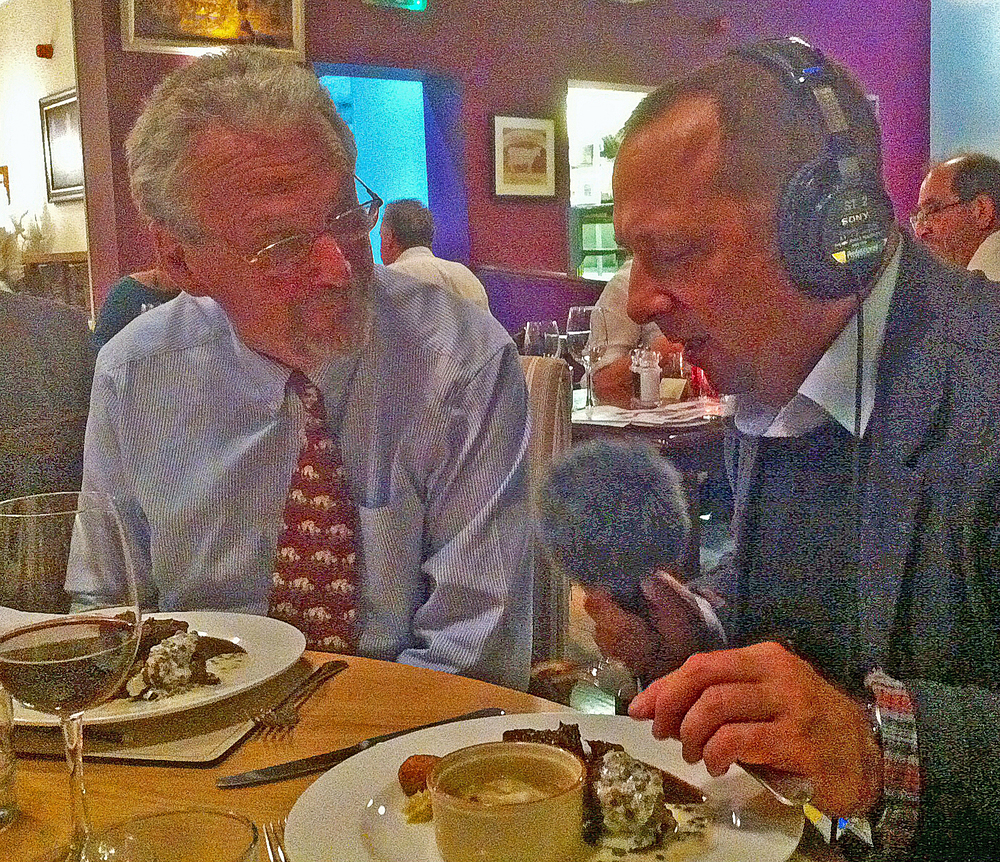 Bob Kennard with Dan Saladino of BBC Radio 4 Food Programme recording an interview.