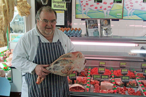 Butcher Andrew Pugh in his Bishops Castle, Shropshire shop
