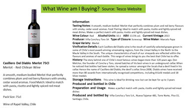 Description for randomly chosen red wine source: Tesco Website