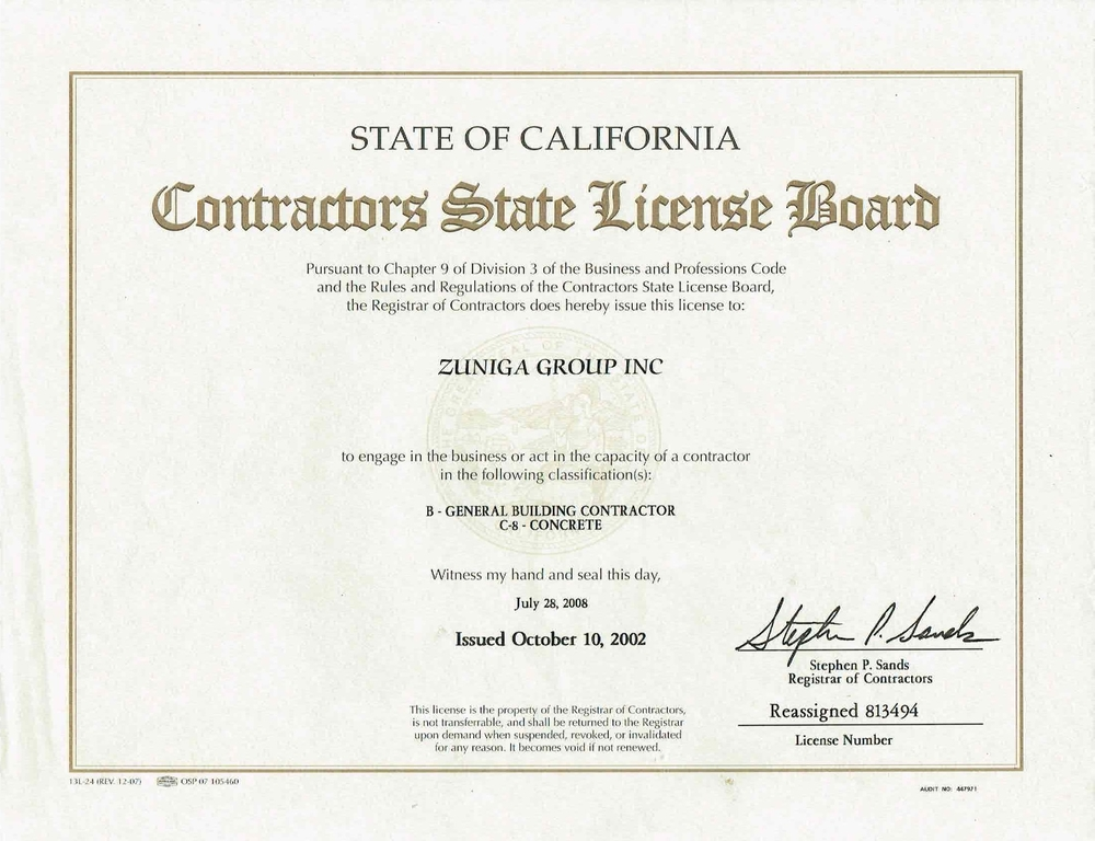 ZUNIGA GROUP STATE LICENSE -PAGE 5