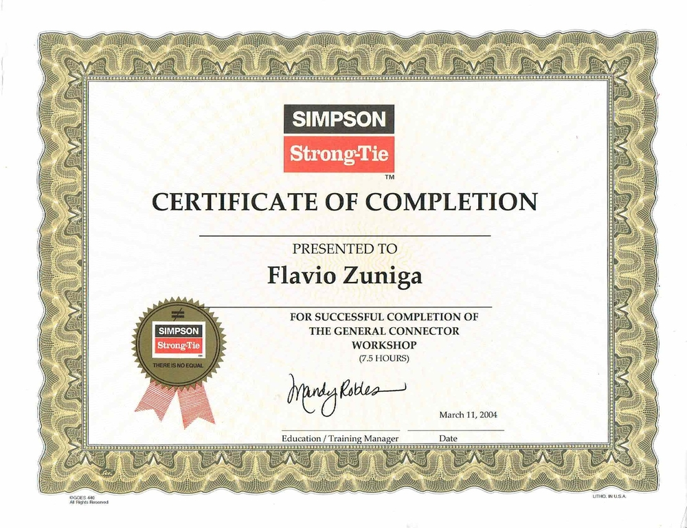 SIMPSON STRONG TIE CERTIFICATE