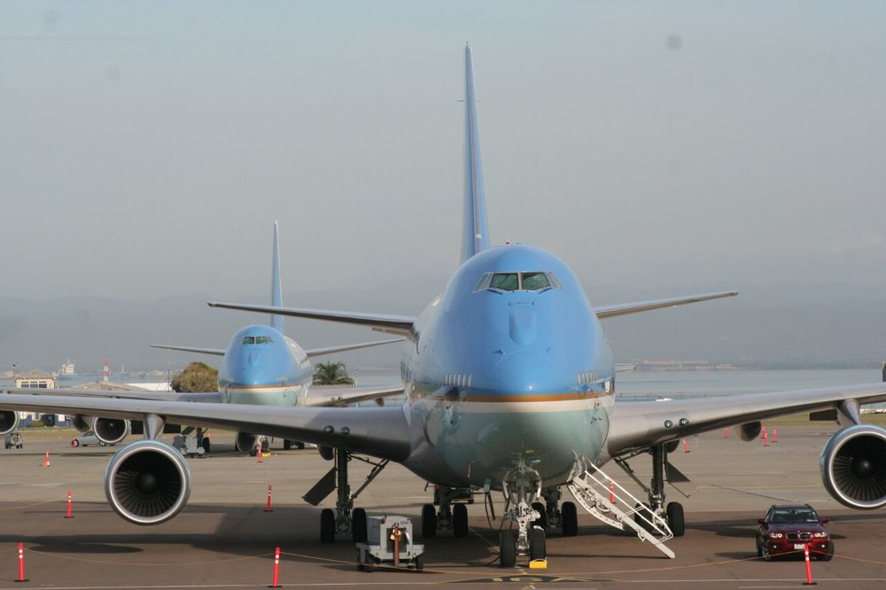 Air Force One x 2 at Norman Manley Intl. Airport.