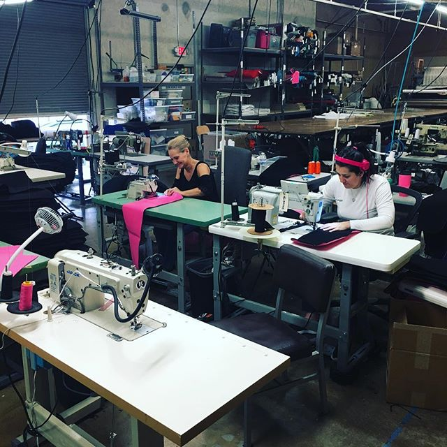 Sewing aaaalll the pink felt! We get some really original ideas from some clients. You never know what you might be doing next. #productionsewing #stitchtexas #fashion #madeinusa #madeintexas #sewingmachine #factory