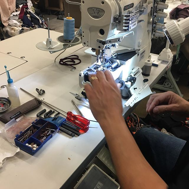 Machine repair is a constant need at a clothing factory. Without a good mechanic on call, your shop could come to a scratching halt. Thankfully we've got one of the best! #stitchtexas #sewingmachine #repair #mechanic #americanmade