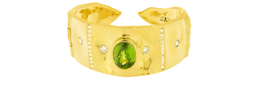 Tamarind Cuff Bracelet with Natural Color Sphene and Diamonds