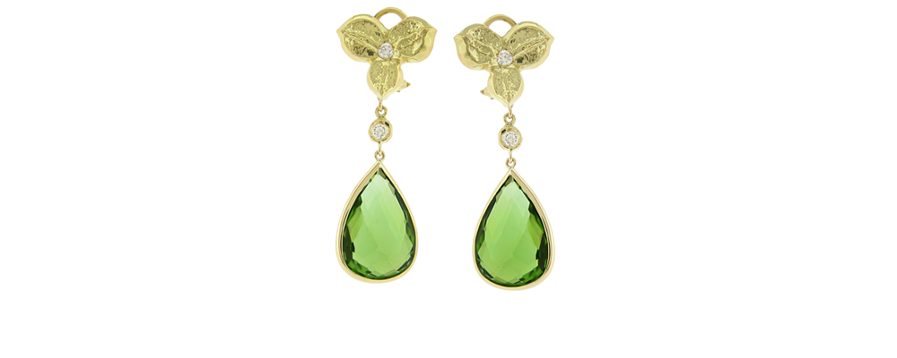 3 Petal Earrings with Natural Color Kashmiri Peridot and Diamonds