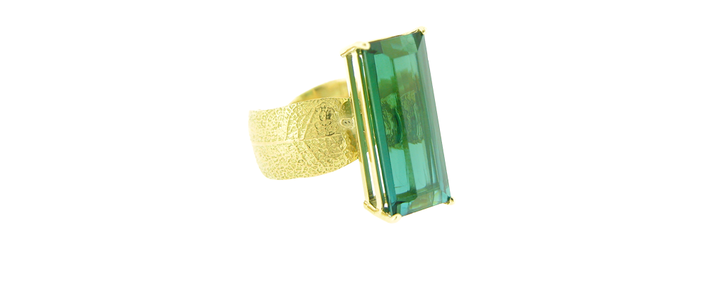 Laurel Leaf Ring with Natural Color Indicolite Tourmaline