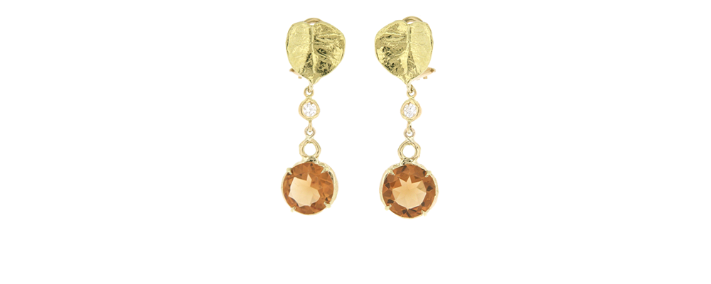Wild Violet Earrings with Diamonds and Natural Color Citrines