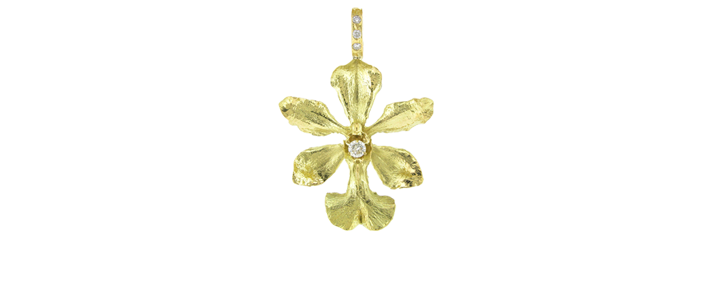 Orchid Pendant with Diamonds