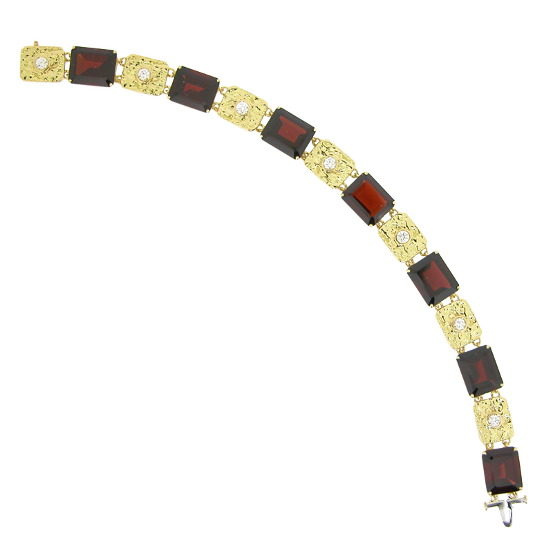 Mimosa Bracelet with African Garnets and Diamonds