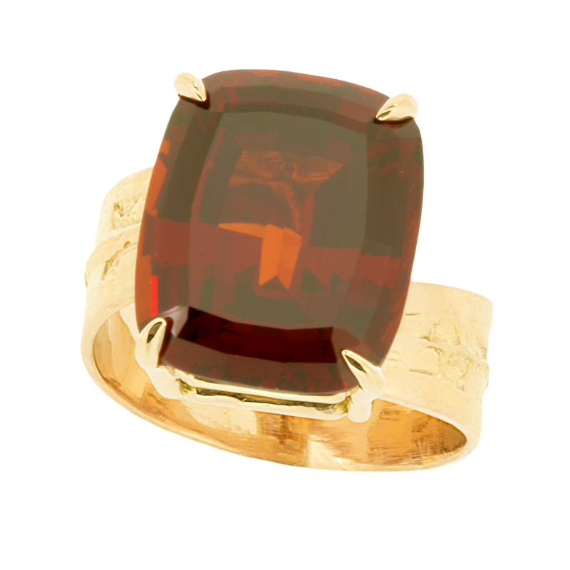 Japanese Yew Leaf Ring With Madagascar Garnet