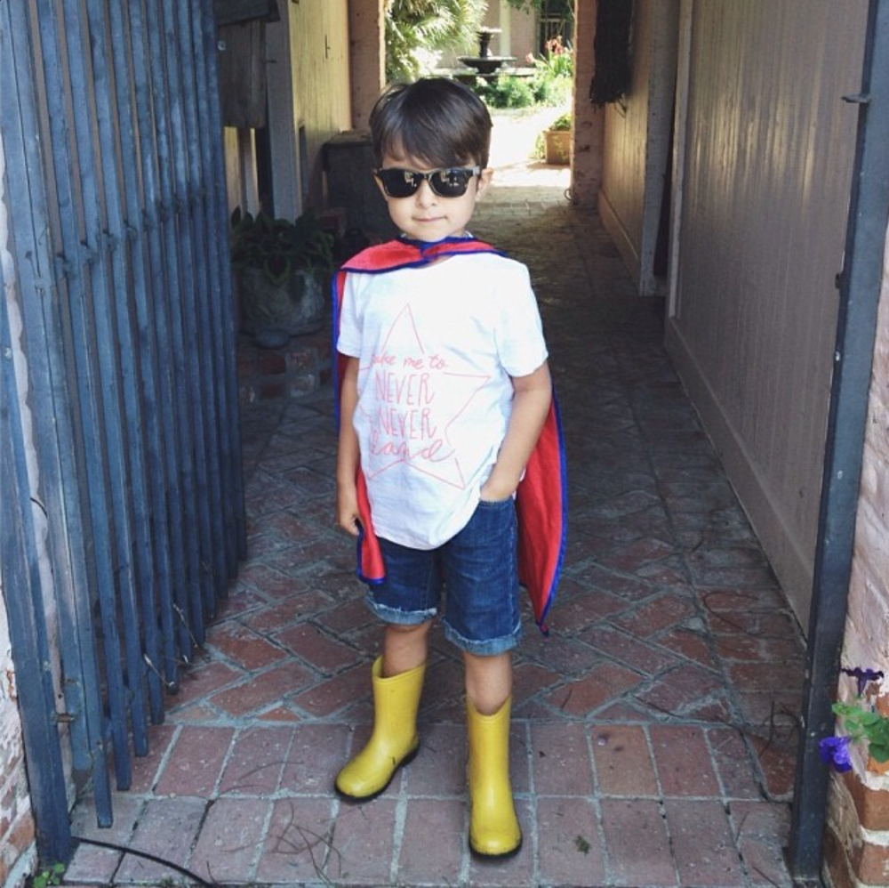 @erynlaviolette's superhero in our Never Never Land Kid's tee