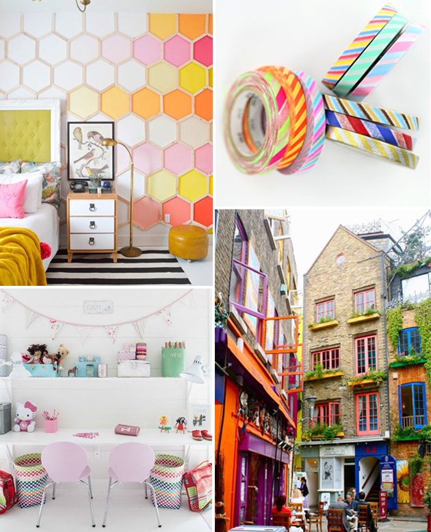 bright color inspiration board, bold colors for kids, kid inspiration neon colors