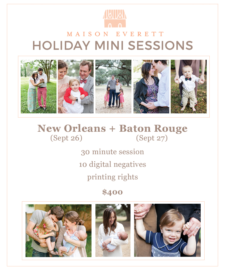 Holiday Photo Sessions in Baton Rouge and New Orleans