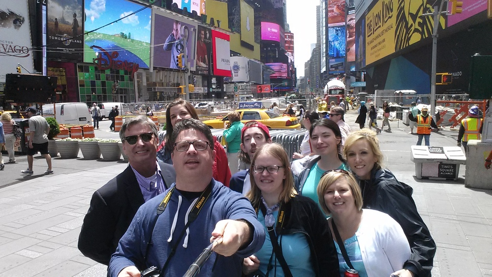 Times Square group selfie