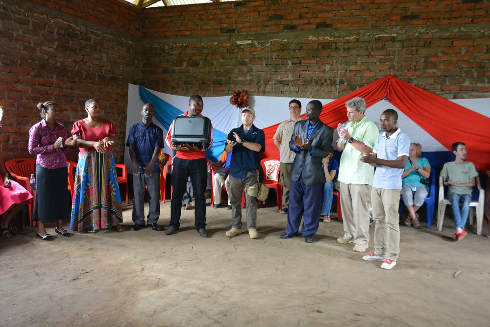 Zach presenting the medical bag that will be used by the trainees so they can care for their village