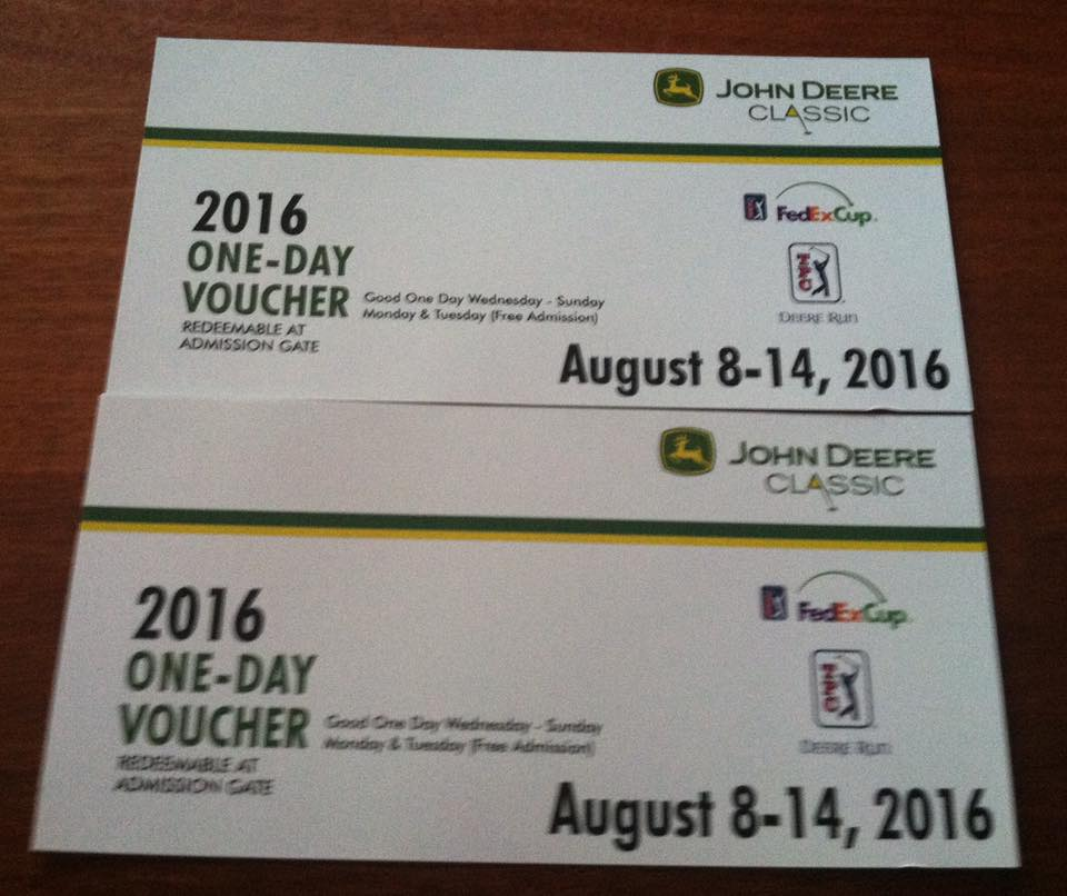 John Deere Classic Tickets Single day general admission. Can be used on any day during tournament Aug 10-14. $60 Value