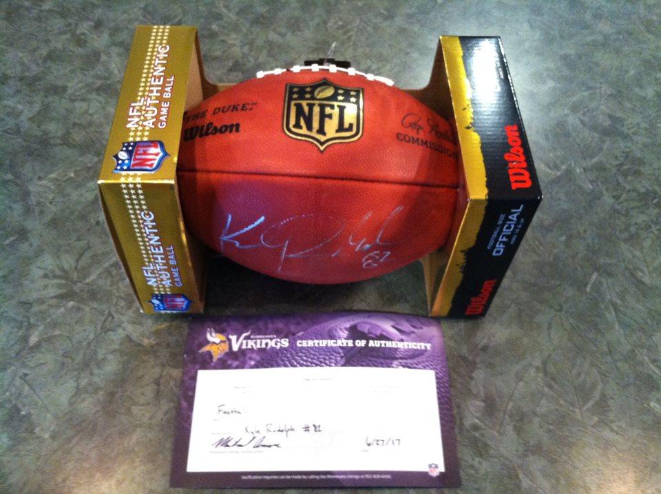Kyle Rudolph Minnesota Viking  TE # 82 autographed football