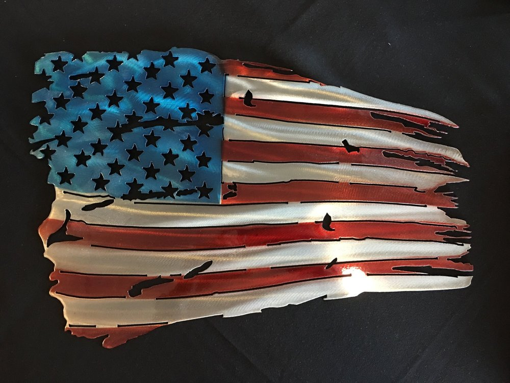 American flag metal artwork
