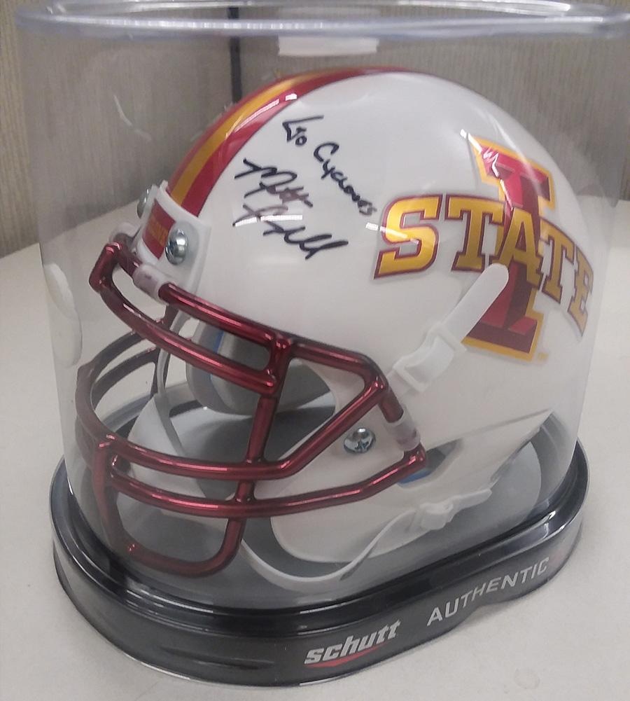 Iowa State mini football helmet - Signed by Matt Campbell