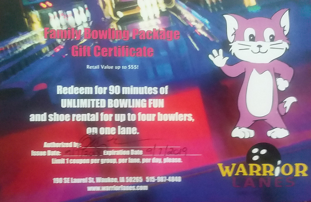 Warrior Lanes Bowling Gift Card - 90 minutes