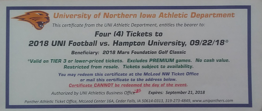 4 - UNI football tickets - Four tickets