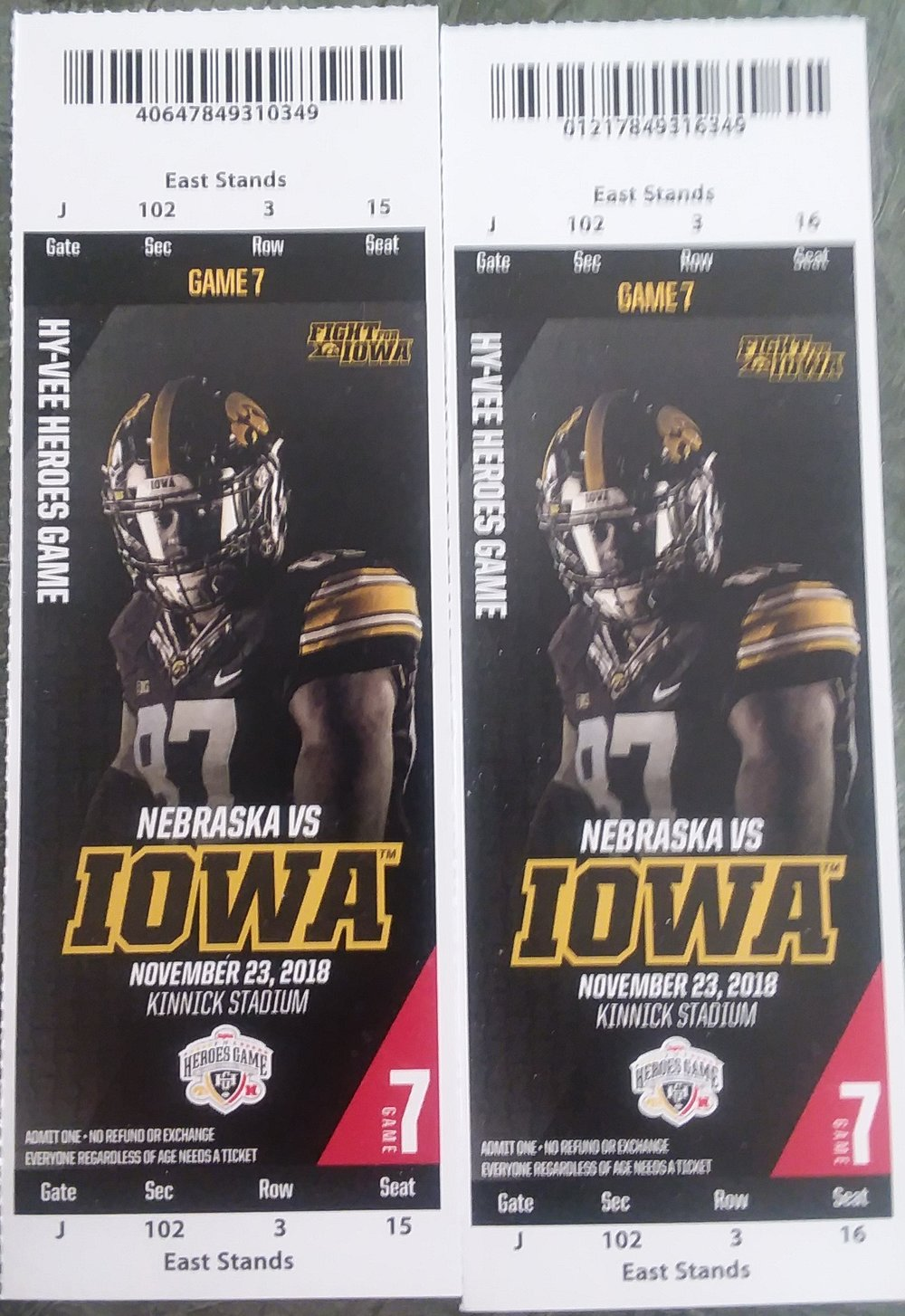 Iowa Football Game Day Package - Winner Receives Below Items1. 2 - turkey legs from Big Ass Turkey Legs located on Melrose Avenue on game day – Donated by: Craig Ireland2. 2 - growlers and refills – Donated by: 515 Brewing3. 2 - Iowa vs Nebraska football tickets – Donated by: Justin McGuinty (Section 102 Row 3 Seat 15 & 164. 1 - night stay at Graduate Hotel in Iowa City – Donated by: Graduate Hotels5. 1 – free pizza – Donated by: The Airliner