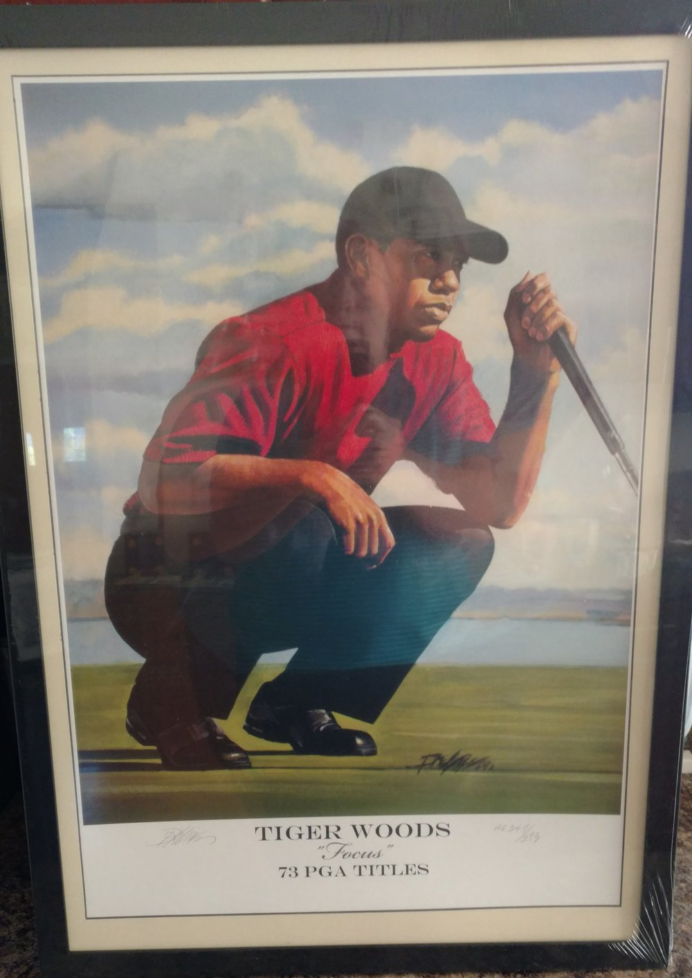 Tiger Woods Lithograph - Donated by Warrior Custom GolfLimited edition artist quality lithograph of an original illustration of Tiger Woods.