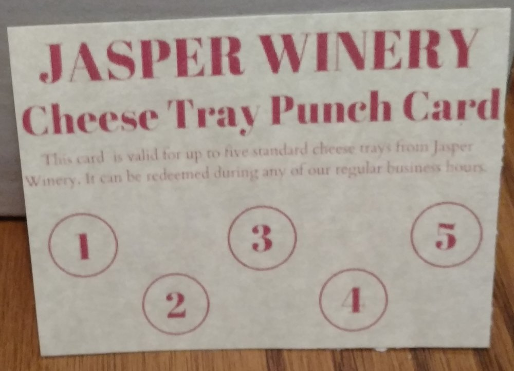 Jasper Winery (Des Moines) - Jasper Winery (Des Moines) – 5 cheese tray punch card