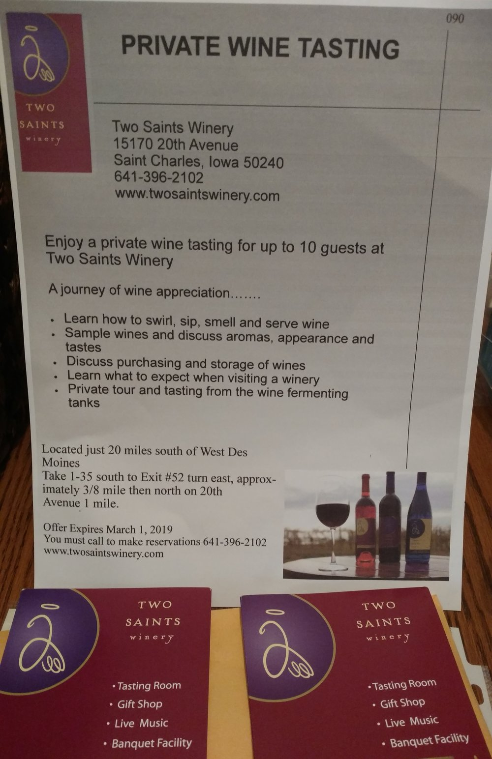 Two Saints Winery (St Charles) - Two Saints Winery (St Charles)– wine tasting for 10 people