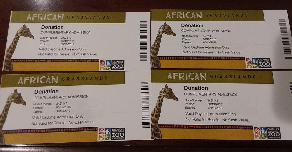 Omaha Zoo tickets  - 4 tickets