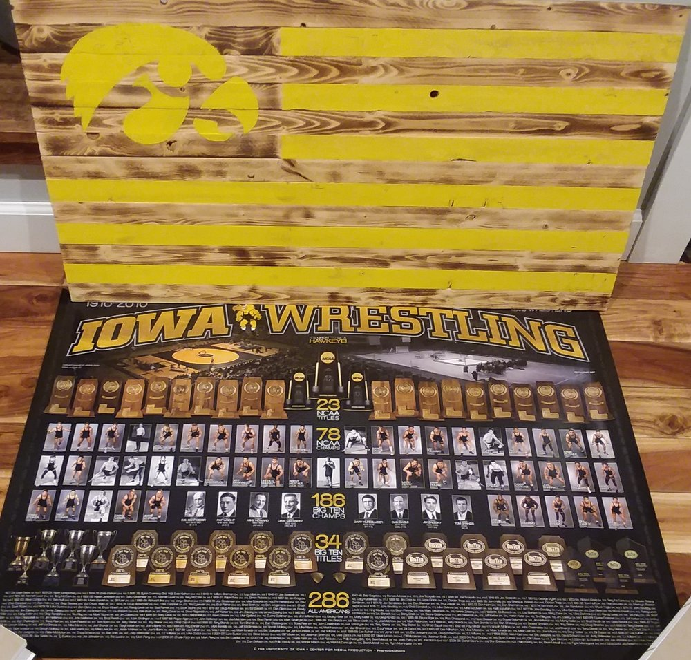 Iowa Wrestling Package - Iowa Wrestling Package - Poster and Wood Iowa Flag that is eligible for personalized autograph by coaches.