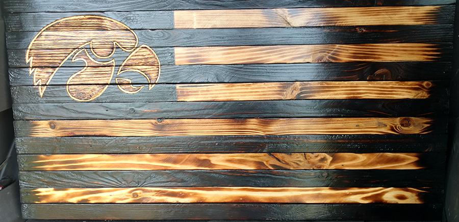 Iowa Hawkeye Wood Flag - Iowa Hawkeye Wood Flag - Donated by Schlafle Designs