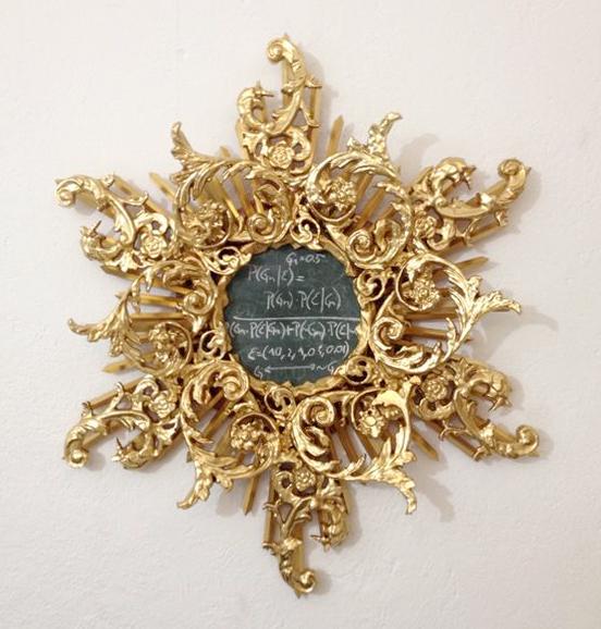 Plinio Avila    El Teorema de Dios   MDF, Pino, Hoja de oro falsa, Pizarrón, Gis