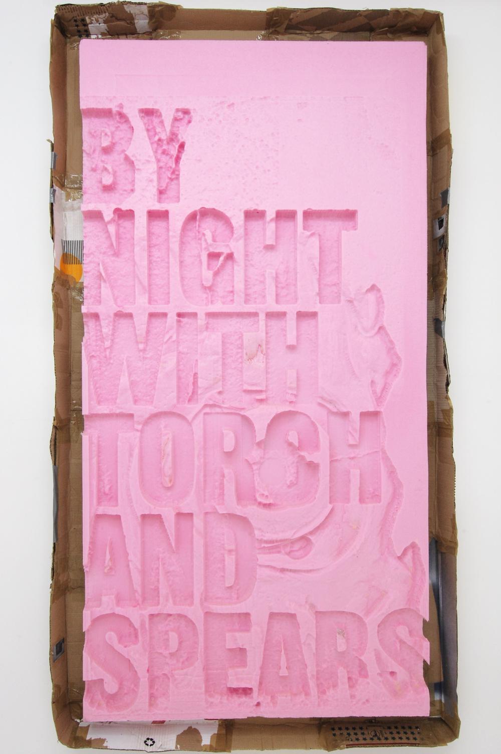 RenaudJerez    By Night With Torch and Spears   Espuma de poliuretano de alta densidad, cartón, cinta, papel