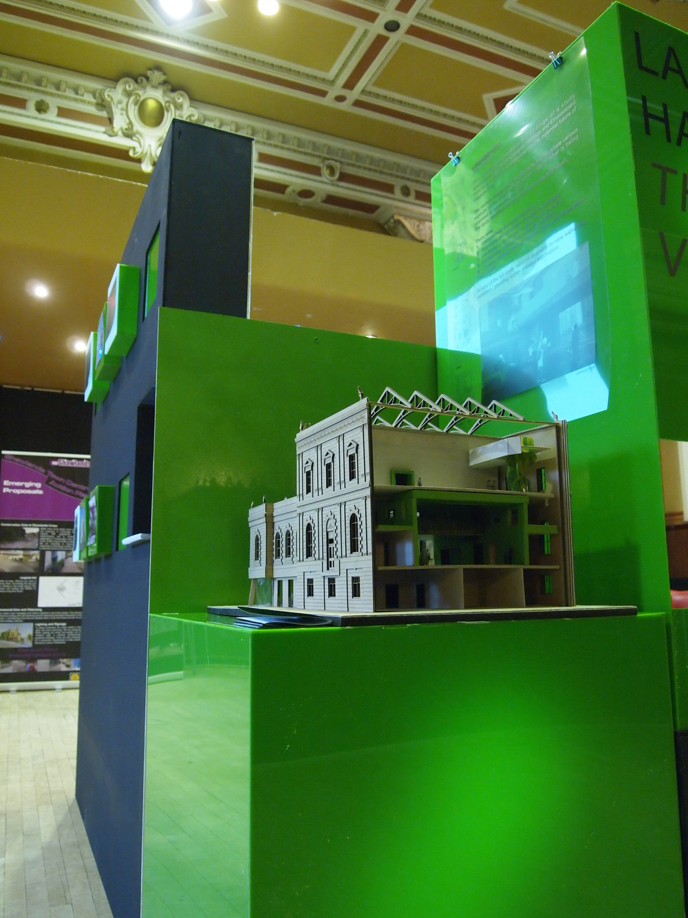 Laser cut model and acrylic and mdf display stand for public consultation event at Langside Hall, Glasgow for Collective Architecture.