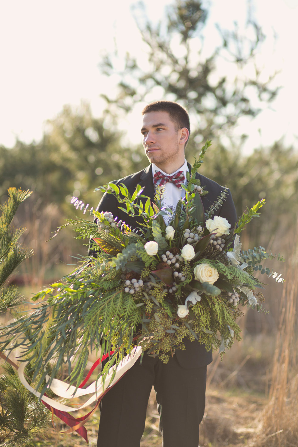 Christmas Wedding Inspiration from Shelby Photography, Adore Bridal, Le Fleur Floral Design & Events, Morton Rentals, Dash/Wood and Something Old Event Rentals at the Red Barn Tree Shop in Morton, IL