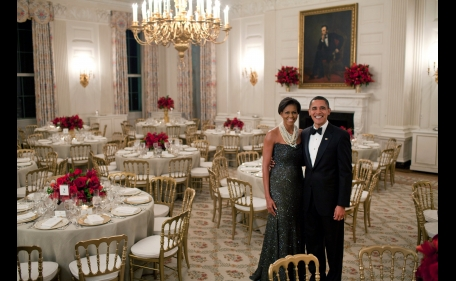 2009 - The Obamas pose in the State Dining Room before the Governors Dinner