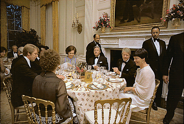 1977-The Carters hosting a dinner in 1977 (Carter Library)