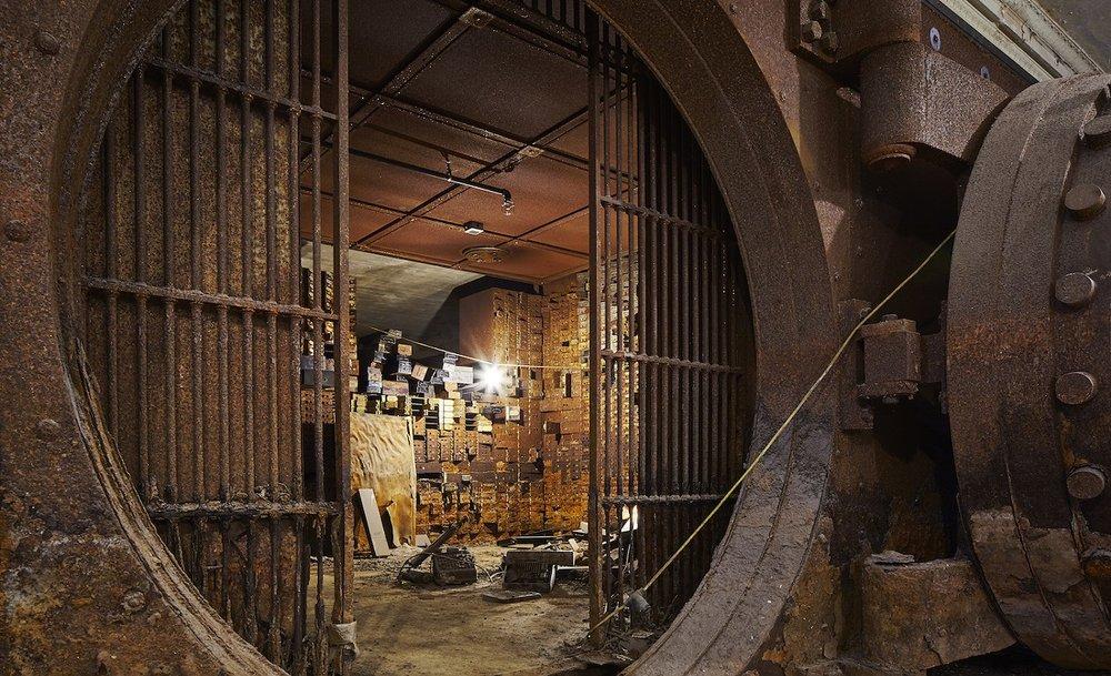 A desolate bank vault