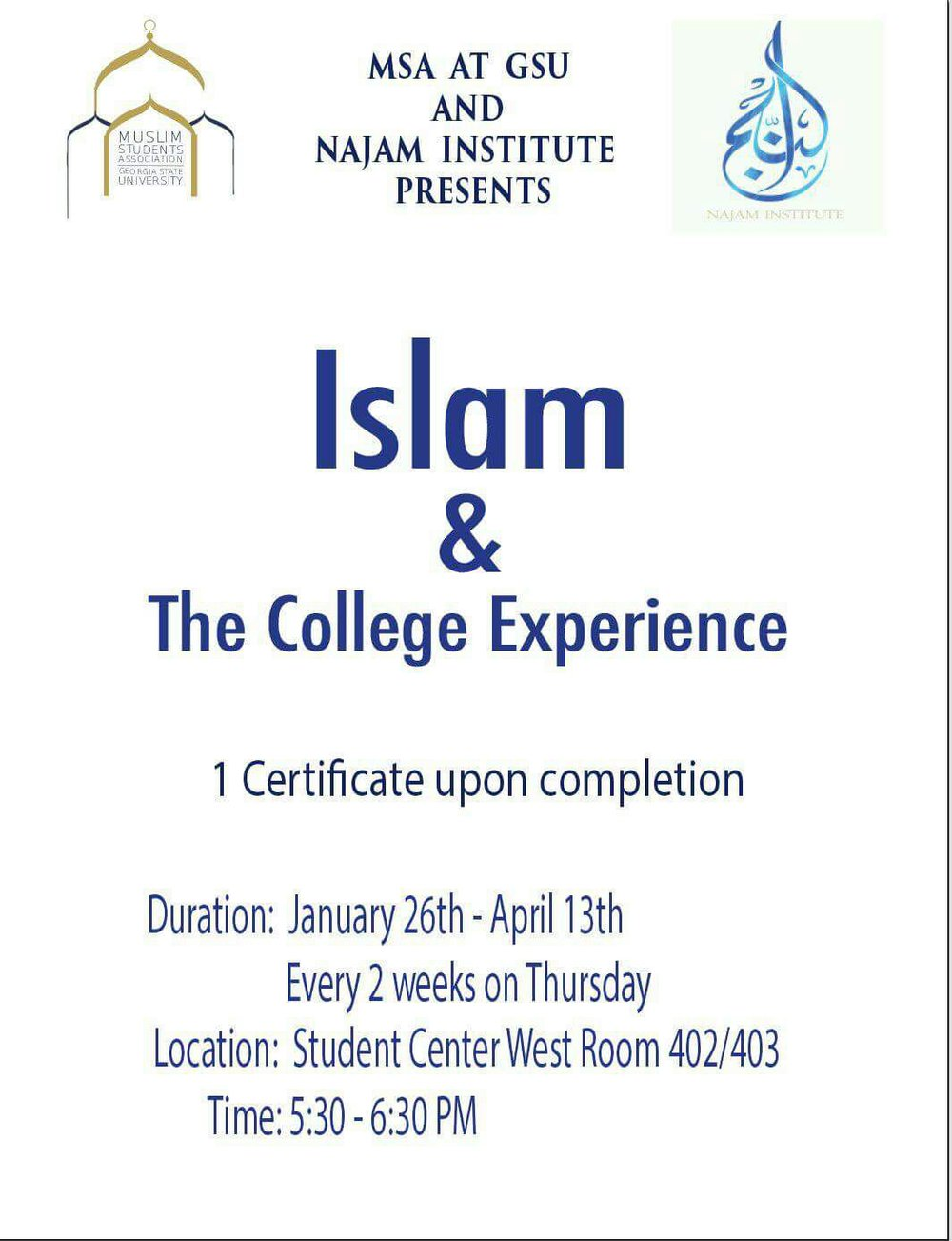 We hope everyone is having an excellent start to the new semester InshaAllah ! Don't forget to partake in the Islam and the College Experience classes starting on January 26th