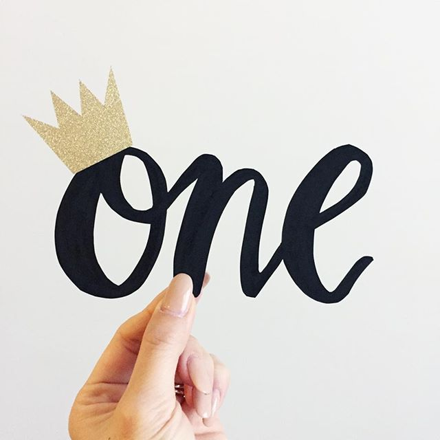A custom cake topper design requested by the auntie of this little one.. happy birthday sweet one-year-old!  #custom #cake #caketopper #one #oneyearold #birthday #lettering #calligraphy #inspiration #gold #crown #simple
