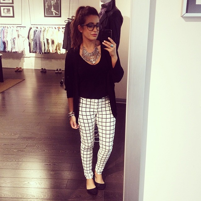 Necklace: Forever 21 | Glasses: Warby Parker | Black top & Cardigan: TJMaxx | Pants: A'Gaci | Shoes: Forever 21