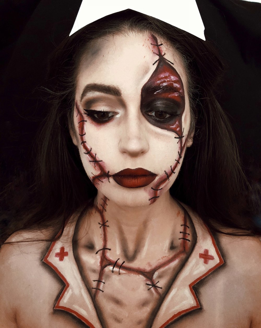 halloween-makeup-nurse-gore-stitches-bodypaint